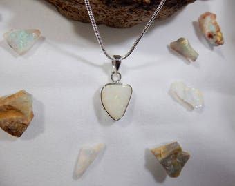 4ct Precious Australian Solid White Opal pendant. 925 Sterling Silver