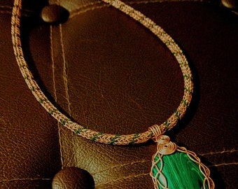 "18"" Copper & Green Viking Knit Necklace with Malachite Pendant"