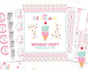 Ice Cream Cone Party Printable Collection, Personalized Ice Cream Party Printables, Ice Cream Party Printable, Full Ice Cream Party Set