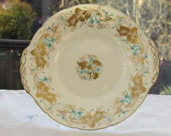 Coalport Sandwich Plate, Bone China Vintage Sandwich Plate, Coalport Strange Orchid, Sandwich Plate in Turquoise and Gold,