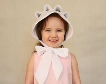 Girls Bonnet, White, Baby Bonnet, Ruffle Button Bonnet, Southern Bonnet, Sun Bonnet, White Magnolia Bonnet, Brookes Treehouse, Summer Bonnet