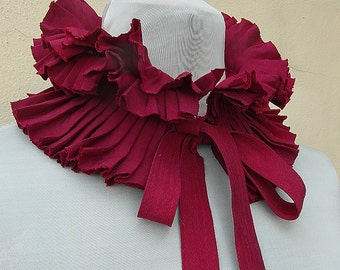 Detachable collar/ ruffle collar/ pleated collar/ scarf/ boa/ gift  for her/ burgundy accessory/ accessory for dress/ NEW