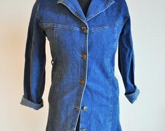 Vintage denim coat / dress / buttons down / Medium / M / onepiece / Sarafan / Jeans / Jacket