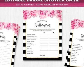Bridal scattergories categories game, deep pink fuschia flowers florals topics worksheet template quiz question cards french spanish DIGITAL