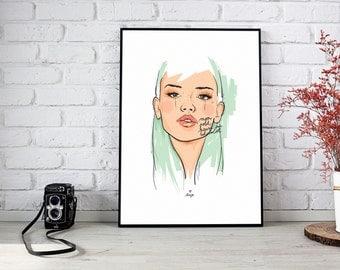 Poster Mon petit pain au chocolat Girl Illustration, Art, Poster, reproduction, art and collection, poster, portrait
