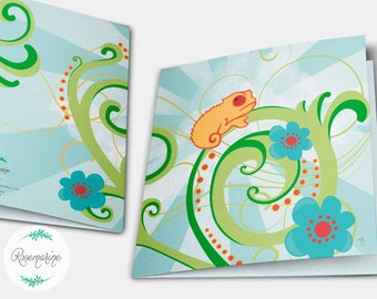 Baby chameleon card, Reptile card, Greeting cards, Birthday, Anniversary, Thank you, Congratulation, Illustrated card, Note card
