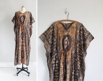 vintage caftan dress / indonesian maxi dress / 70s batik bohemian kaftan / womens one size fits most