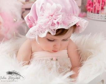 Baby pink mop hat,vintage bath,shower cap with lace brim and flower,cake smash sitter prop,granny hat,milk made cap,UK seller