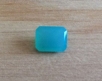 Intense Blue Chalcedony 9x7mm Emerald Cut Gemstone 1.87ct Loose Gemstone Aqua Faceted Gemstone Wholesale Pricing A212