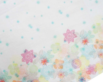 """Indian Dress Fabric, Floral Print, White Fabric, Sewing Decor, Cotton Fabric, Quilt Material, 54"""" Inch Apparel Fabric By The Yard ZBC6895A"""