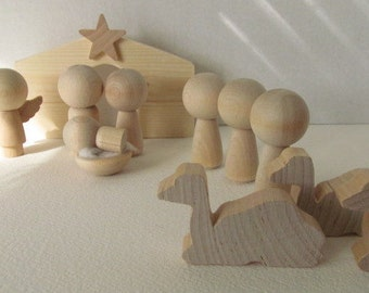 Nativity Set-Wooden Nativity Set with Kokeshi or Peg dolls-Unfinished, unpainted, DIY, blank nativity set: 12-piece