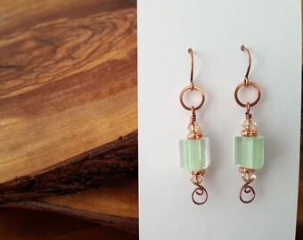 Glass bead earrings, cane glass earrings, furnace glass earrings, Swarovski, green copper earrings, glass dangle earrings, pastel earrings