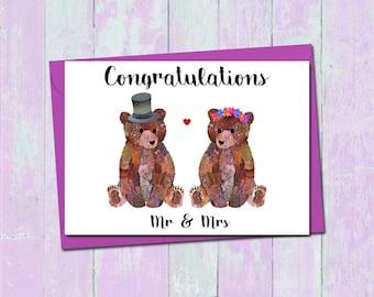 Bear wedding card, Mr and Mrs wedding card, Bride and groom card, Congratulations love card, Cute bear wedding card, Unique wedding card,