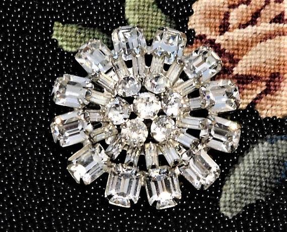 Signed WEISS Rhinestone Brooch Mid Century 1950s Crystal Glass Rhinestone Brooch Vintage Hollywood Wedding Bride Bridal Designer Fashion