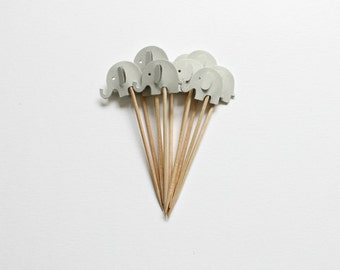 12 Grey Elephant Cupcake Toppers Birthday Cake Topper Elephant Party Grey Baby Shower Topper Baby Girl Baby Boy