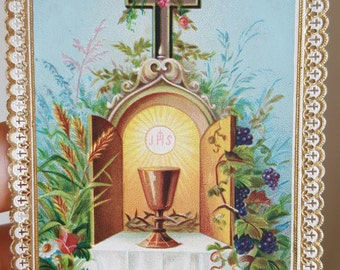 Vintage French Holy Card First Communion Holy Card Catholic Art Religious Art Eucharist Chalice