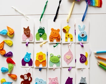 Kids Bookmarks, Set of 15 Felt Animal Bookmarks, Handmade Bookmark, Small Child's Bookmark, Cute Fun Book Page Marker, Childrens Book Gift