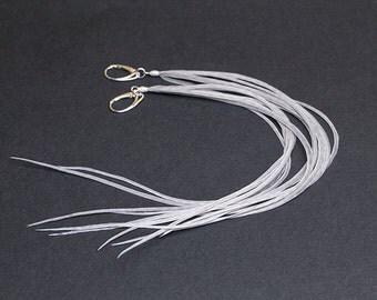 Long earrings 8 inch Long feather earrings Long feathers Hair feathers Statement earrings Extra long Feather hair clip Tassel earrings Boho