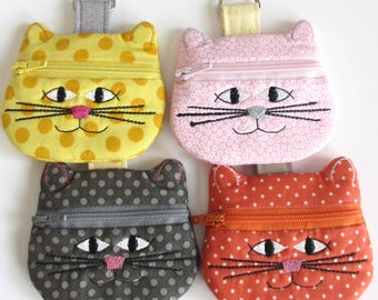 Kitty Change Purse | Kitty Keychain | Cat Lover Gift | Cat Zipper Pouch | Cat Earbud Pouch | Cat Coin Purse | Cat Chapstick Holder