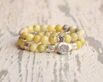 yellow bracelet Buddha bracelet Stack bracelet tibetan jewelry bead bracelet woman lotus bracelet gift brother mala wrist lotus flower charm