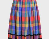 vintage bright checked dirndl skirt. green blue orange yellow red - check tartan grid print - german dirndl cotton midi skirt - uk10 uk12 10