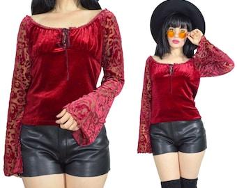 vintage 90s red velvet shirt sheer velvet burnout bell sleeve off shoulder peasant prairie vamp witchy gothic blouse top velour small