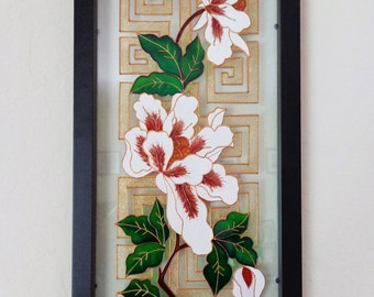 Flower art Glass painting Wall decor Painted glass Stained glass