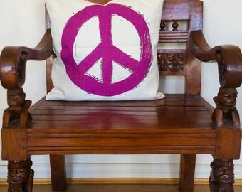 Peace Symbol Cushion, Peace Symbol Pillow, Pink Pillow, Pink Cushion, Peace Symbol Decor | CUS037