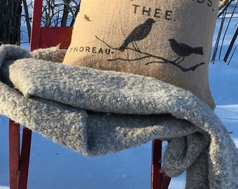 Rustic burlap pillow cover - Thoreau birds quotation