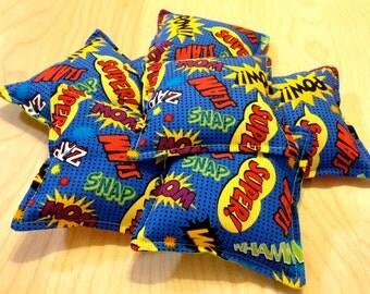 Washable Bean Bags - Set of 6 - Superhero/Comic Theme