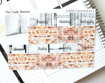 Brown Brick Bottom Washi - Coffee Collection Kit 2 - Washi Stickers - 1 Sticker Sheet