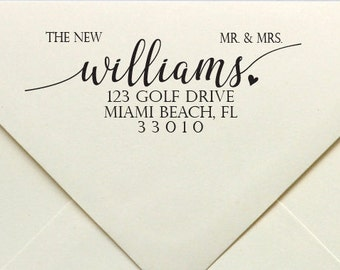 Newly Wed Address Stamp, The New Mr & Mrs. Address Stamp, Wedding Stamp, Rubber Stamp, Personalized Rubber Stamp