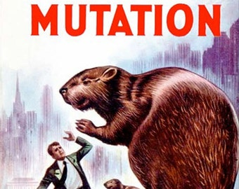sci fi pulp art print Rodent Mutation—  vintage pulp paperback cover repro