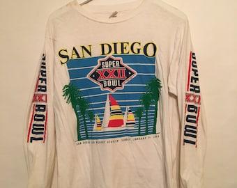 Vintage 88 San Diego Super Bowl Long Sleeve T Shirt Size XLarge