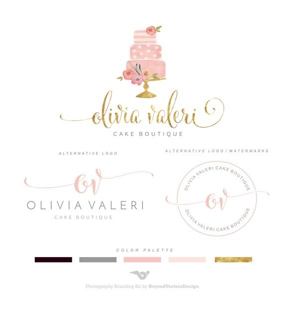 Bakery Logo Design Logo Set Floral Watercolor by BVLogoDesign