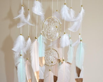 Baby Mobile, Feather Dreamcatcher Mobile, Gold Mint Blush Nursery Decor, Baby Boy Girl Nursery Mobile, Large Dreamcatcher