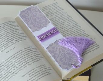 Girly bookmark with tassel, Cute bookmark, Purple paper bookmark, Gift for girl, Gift for teacher, Girlfriend gift, Small gift, School gift