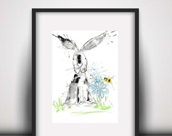 SALE Rabbit watercolour PRINT, rabbit, watercolour painting, rabbit illustration, rabbit art print, hare, baby room decor, new baby gift