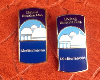 Vintage Pair of Pins Holland America Line Mediterranean Cruise Ship Jewelry Lapel Enamel Pin