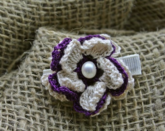 White and Purple Flower Hair Clip