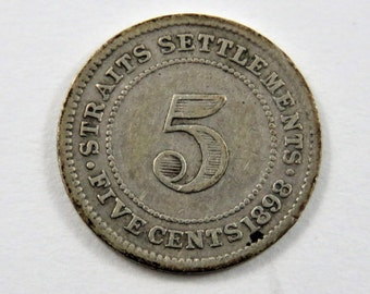 Straits Settlements 1898 Silver 5 Cents Coin.