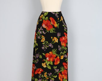 "1990s Skirt - Floral Midi Skirt - Silk - Jones New York - Romantic Elegant - Vintage Skirt - Summer Spring - Size Small/XS Waist 26"" 27"""