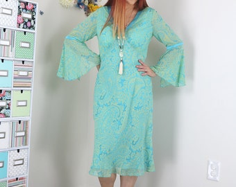 90s Does 70s Dress - Paisley Midi Sheath Dress - Pastel - Bell Sleeve - Flutter Hem - Boho - Spring Summer Dress - Small/Medium