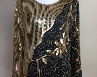 Vintage 1980s Gold and Black Silk and Sequin Blouse