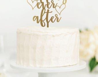 Happily Ever After wedding cake topper, laser cut cake topper, wedding decor, gold, silver, cake topper, wedding cake decorations