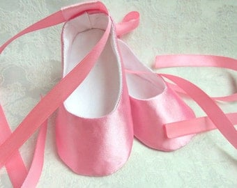 Baby Pink ballet flats, Satin Soft Sole Pre-Walkers,toddler shoes,wedding girl outfi,blessing baptism shoes, infant slippers,Baby Girl Shoes