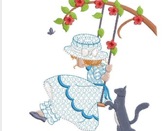 "Holly hobbie on swing machine embroidery download 3 different sizes ( 5.5X5.5  6X6  7X7"")"