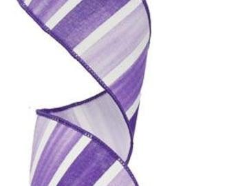 RIBBON - Wired Ribbon - Purple Ribbon - Striped Ribbon - Purple and White Ribbon - Wreath - Floral Ribbon - RG0143923