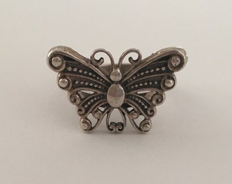 Sterling Silver 925 Butterfly Filigree Ring
