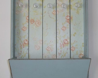 Blush Rose & Blue Floral Wall Pocket Organizer with Crystal Knobs **SALE**